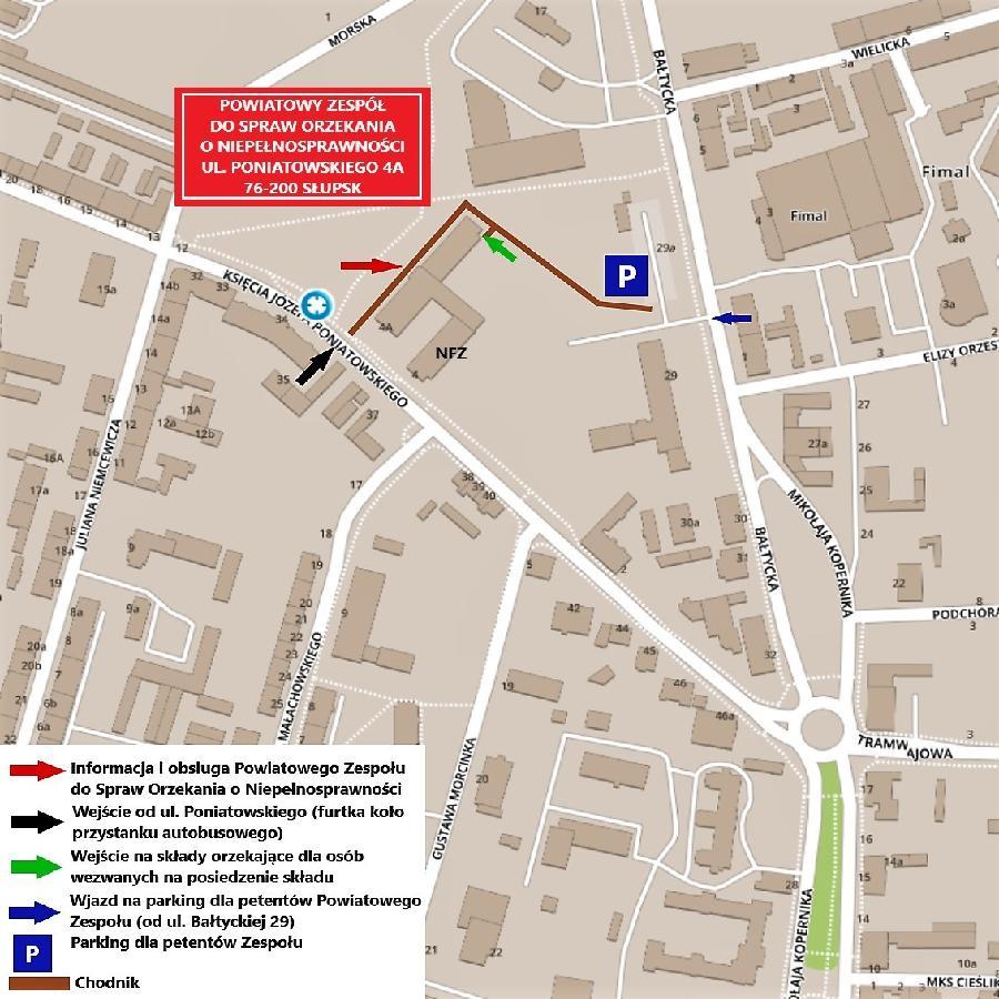 Mapa ukazująca lokalizację Powiatowego Zespołu przy ul. Poniatowskiego 4a w Słupsku